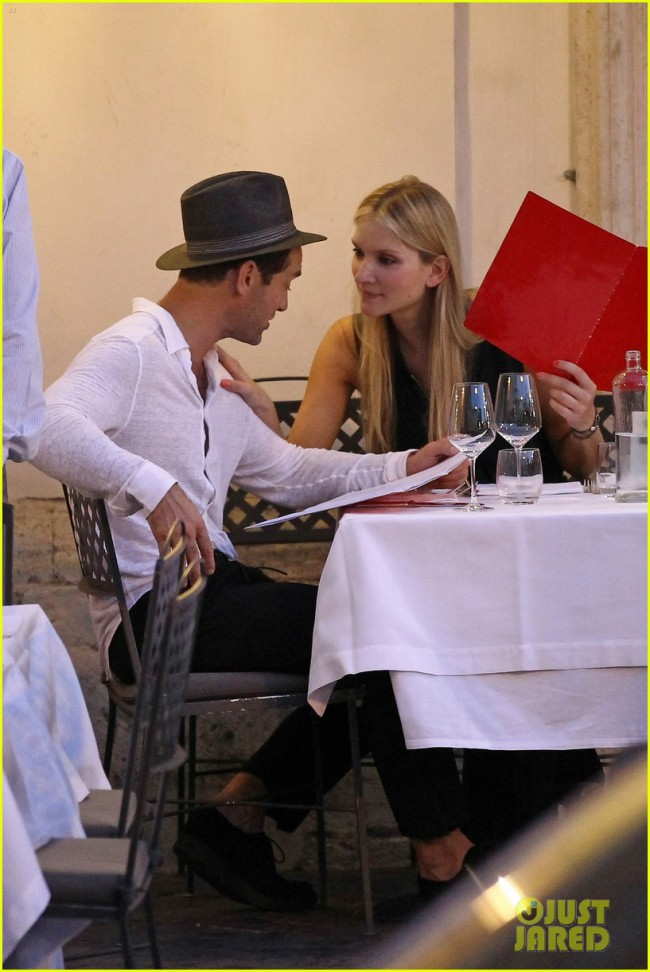 **USA ONLY** *EXCLUSIVE* *SHOT ON 8/2/15* Rome, Italy - Jude Law and his girlfriend Philippa Coan, who've been dating for the last few months, were in deep conversation while enjoying a romantic dinner in Rome. The 42 year-old actor is shooting TV series 'The Young Pope' in the city this week and clearly thought he'd mixed business with pleasure as he brought along his 29 year-old girlfriend. AKM-GSI August 6, 2015 To License These Photos, Please Contact : Steve Ginsburg (310) 505-8447 (323) 423-9397 steve@akmgsi.com sales@akmgsi.com or Maria Buda (917) 242-1505 mbuda@akmgsi.com ginsburgspalyinc@gmail.com