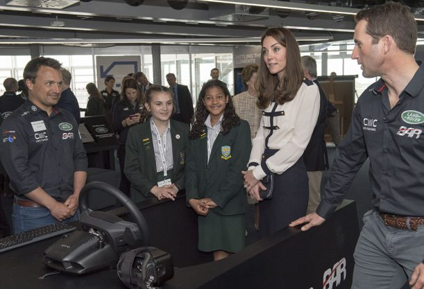 The Duchess of Cambridge met the Land Rover BAR team who are challenging for the 2017 America's Cup. Her Royal Highness l joined the team, headed by Sir Ben Ainslie on board their training boat, .Picture Arthur Edwards