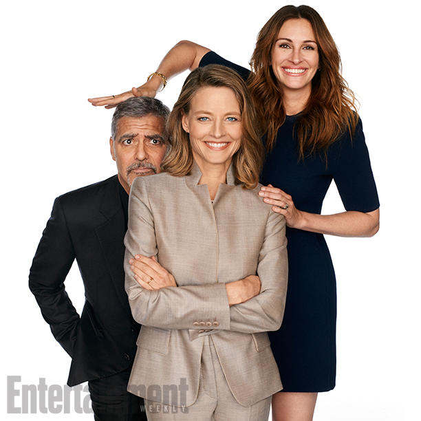 Money Monster L to R: George Clooney, Jodie Foster and Julia Roberts Studio City, CA - April 8, 2016 Photograph by Carter Smith Roberts' Styling: Elizabeth Stewart/The Wall Group; Fosterês Styling: Samantha McMillen/The Wall Group; Robertsê Makeup: Genevieve/Lancome/Sally Harlor; Hair: Serge Normant/Jed Root; Fosterês Hair: Richard Marin/Cloutier Remix; Makeup: Rachel Goodwin/Starworks Artists.; Manicurist: Alexandra Jachno/Aim Artists; Production: Allison Elioff/Sunny 16 Productions; Roberts Dress: Balenciaga; Shoes: Paul Andrew; Necklaces and Earrings: Jennifer Meyer; Bracelet: Luisa Rosas; Fosterês Suit: Max Mara; Blouse and Shoes: Giorgio Armani; Jewelry: ANITA KO