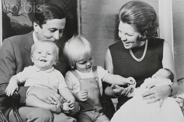 07 Nov 1969, Amsterdam, Netherlands --- Original caption: Amsterdam: Family Of Princess Beatrix. First photo of Dutch Princess Beatrix's complete family shows Princess Beatrix and Prince Claus with their children (left to right), Princes Johan Frisco, Willem Alexander and Constanijn, who was born Oct. 11. --- Image by © Bettmann/CORBIS
