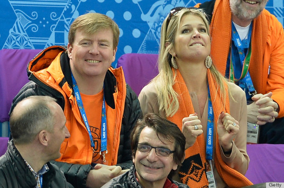 SOCHI, RUSSIA - FEBRUARY 10: King Willem-Alexander of the Netherlands and Queen Maxima of the Netherlands attend the Short Track on day 3 of the Sochi 2014 Winter Olympics at Iceberg Skating Palace on February 10, 2014 in Sochi, Russia. (Photo by Pascal Le Segretain/Getty Images)